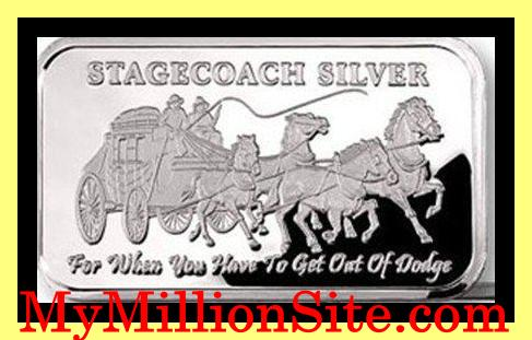 1 Ounce Stagecoach Silver Layered Bullion Bar
